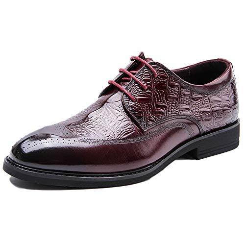 red 39 Hombres Zapatos Negocios Redonda Vestir Oficina Cabeza Moda Para Cordones Con Ante Piel De pqO6SpwxU