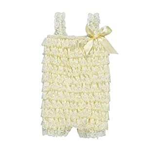 ZEVONDA Baby Girl Sleeveless Bodysuits - Summer Lace Romper Jumpsuit for Baby Toddler, Beige/6-12 Months