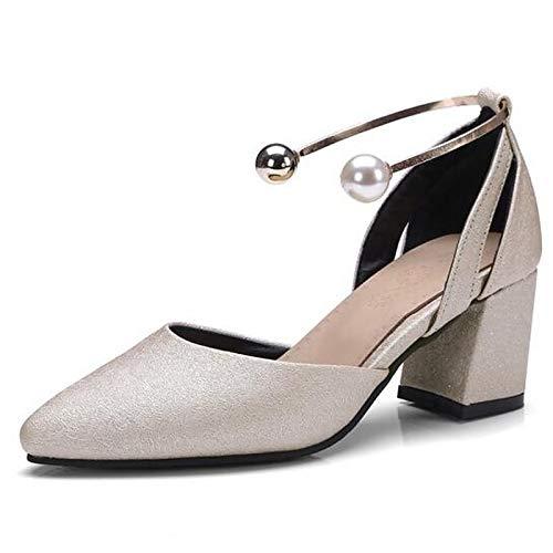 Poliuretano Comfort Black Zapatos ZHZNVX Heels Mujer Chunky Spring Black PU de Almond Heel YIYqv