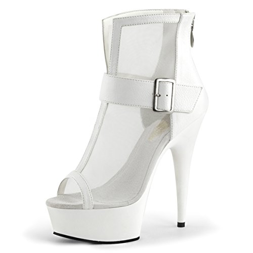 Womens White Platform Boots Sheer Mesh Boots 6 Inch High Heels Peep Toe Shoes