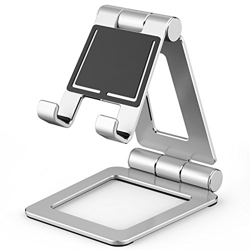 Adjustable Tablet Stand,Slim & Lightweight Universal Dual Foldable Multi Angle Aluminum Stand Mount Holder for Nintendo Switch,iPad pro, Samsung, Nexus,iPhone and Other Tablets (4-12 inch) -Silver