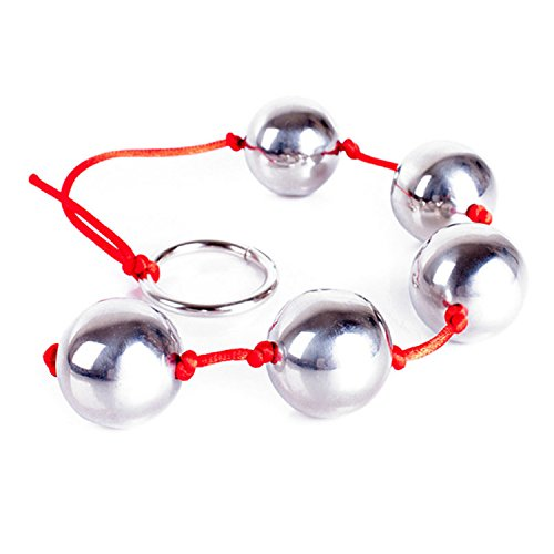 Stainless Steel 5 Balls Anal Beads with Ring Vaginal Balls Sex Toys Metal Butt Beads for Women Men Glass Adult Toys Kegel Ball Red String