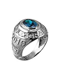 2019 High School Graduation Birthstone CZ Ring in Sterling Silver