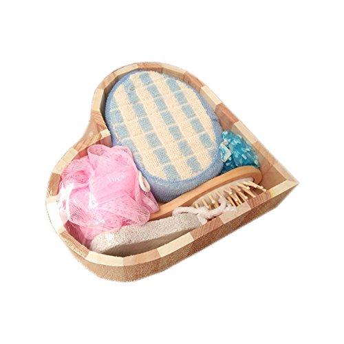 Spa Set 5 Piece (About2shop 5 Piece Bath Set Loofah Scrubber Brush Mesh Sponge Shower Cap Comb Bath Accessory Set)