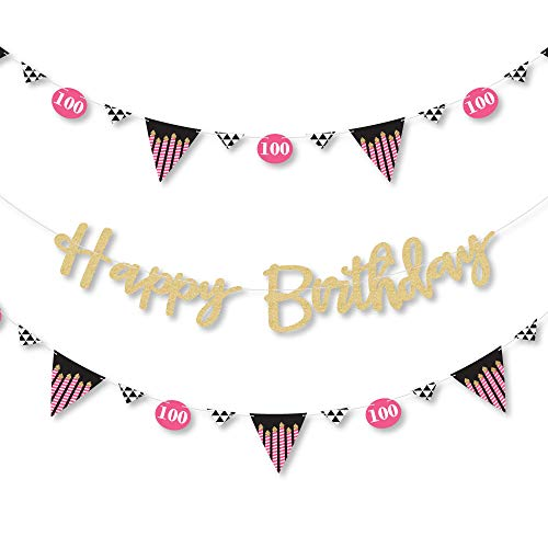 - Big Dot of Happiness Chic 100th Birthday - Pink, Black and Gold - Birthday Party Letter Banner Decoration - 36 Banner Cutouts - No-Mess Real Gold Glitter Happy Birthday Banner Letters