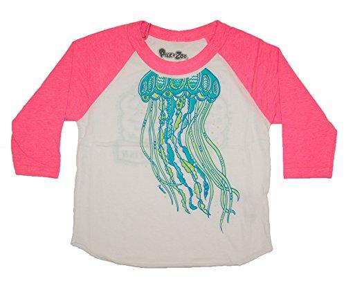 Kids Jellyfish Costume (Peek A Zoo Toddler Become an Animal 3/4 Sleeve Raglan - Jellyfish Pink - 6T)