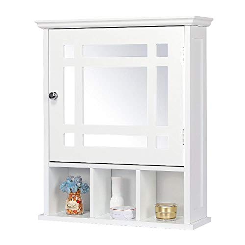 Yaheetech Mirrored Bathroom Wall Storage Cabinet with Adjustable Shelf, Wooden Medicine Cabinet, White