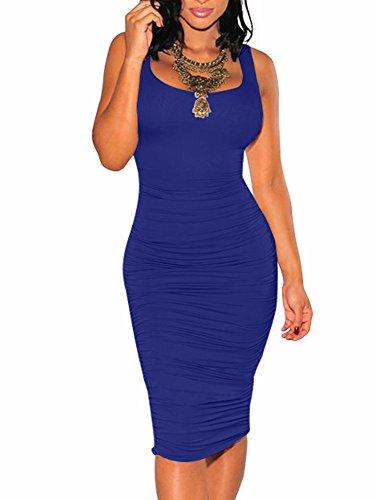 BEAGIMEG Women's Sexy Ruched Bodycon Casual Solid Sleeveless Tank Midi Dress Royal Blue