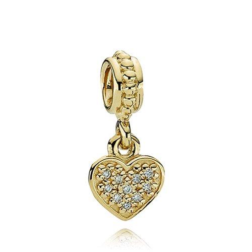 Pandora Pave Brilliant Heart 0.06 Ct Diamond 14k Gold Charm 750809d