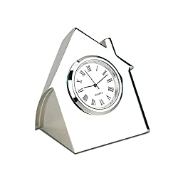 Marketing Innovations Intl House-Shaped Desk Clock, High-Polished Nickel Finish, Silver