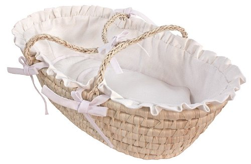 Hoohobbers Doll Moses Basket, White Pique (Discontinued by Manufacturer) by Hoohobbers