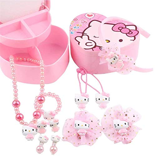 Yefashion Jewelry Set+ Storage Box for Girl Kid Hello Kitty Necklace Earring Ring Hair Accesory ()
