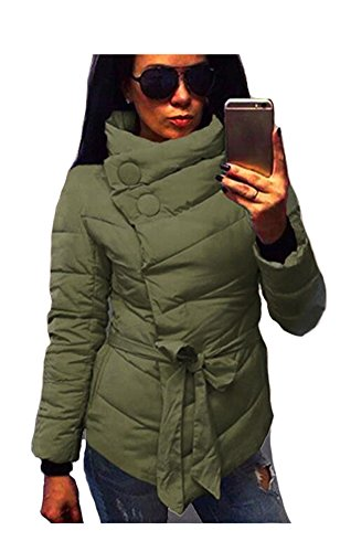 ETCYY Women's Stand Collar With Belt Light Weight Short Down Coat,X-Large,Army Green