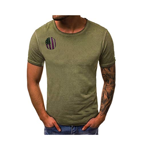 Men's Independence Day Patriotic T-Shirt American Flag Striped Print Short Sve Muscle Tops Tees Blouse Green