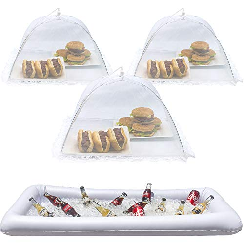Sorbus Inflatable Serving Bar & Food Umbrella mesh Cover Screen Tent Set for Food and Beverages, Perfect for BBQ, Picnic Pool Outdoor Party Supplies, Buffet Luau Cooler,1 Salad Bar 3 Food Umbrellas -