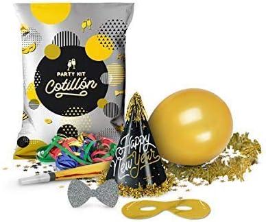 Party Planet Pack 6 Bolsa de Fiesta Carnaval Metalizada Gala con 7 Piezas: Gorros, Globo, Trompeta, Pajarita, Serpentina, Antifaz y Collar - Ideal para 6 Personas