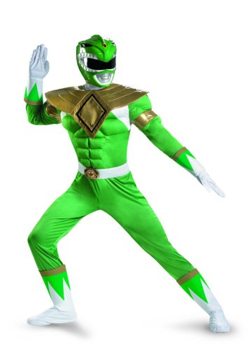 Disguise Sabans Mighty Morphin Power Rangers Green Ranger Classic Muscle Mens Adult Costume, Green/White, (Power Rangers Helmet)