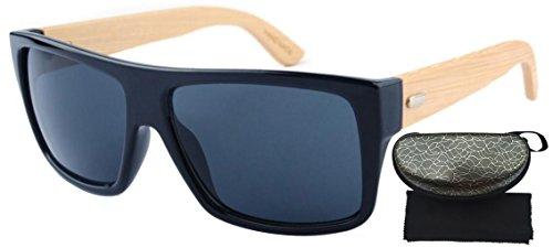 FENGJI Men's Wooden Bamboo Arms Sunglasses Classic Aviator Retro Square Sun Glasses Length 140mm - Wayfarer Types Of Different Sunglasses