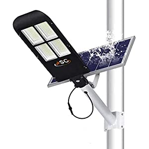 300W Solar Street Lights Outdoor Lamp, 480 LEDs 12000 Lumens with Remote Control?Light Control, Dusk to Dawn Security…