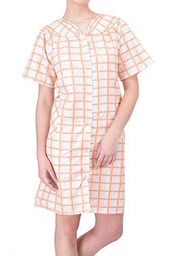 (Ezi Women's Duster9 Short Sleeve Cotton Seersucker Duster Plaid,Orange,XL)