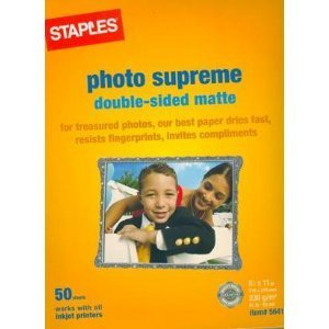 - Staples Photo Supreme Double-sided Matte Photo Paper for ALL Inkjet Printers