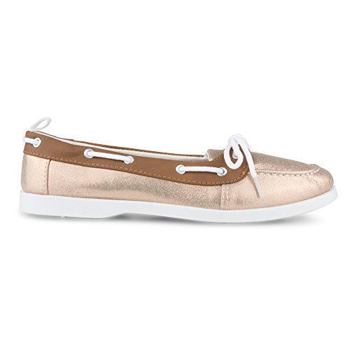 Faux Boat Gold Trim Rose Leather Twisted Bonnie Shoe Women's wAFqgEARW7