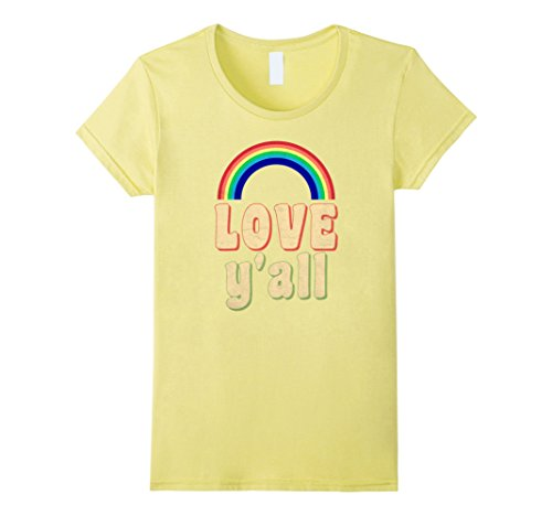 Womens Rainbow T-Shirt Love Y'all Groovy 70s Lettering Colors Medium - 70s Inspired