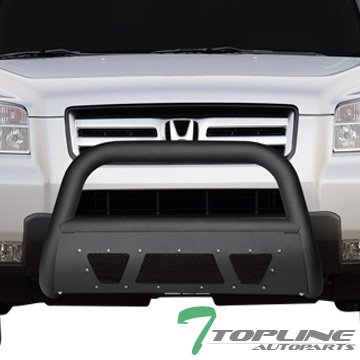 Topline Autopart Matte Black Studded Mesh Bull Bar Brush Push Front Bumper Grill Grille Guard With Skid Plate For 03-08 Honda Pilot ; 06-14 Ridgeline