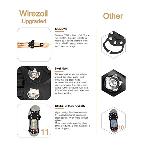 Antidérapant Pour Clou Glace Crampons Inoxydable Wirezoll bottes Traction 11 Noir Acier Neige Et En Chaussures qCxYwd