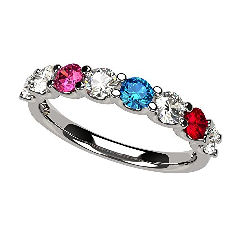 NANA U'r Family Ring 1 to 9 Simulated Birthstones - Sterling Silver