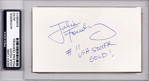 Julie Foudy Autographed Signed Olympic Soccer 3x5 Index Card with inscription - 2x Gold and Silver Medalist - PSA/DNA Authenticity (COA) - PSA Slabbed Holder from Sports Collectibles Online
