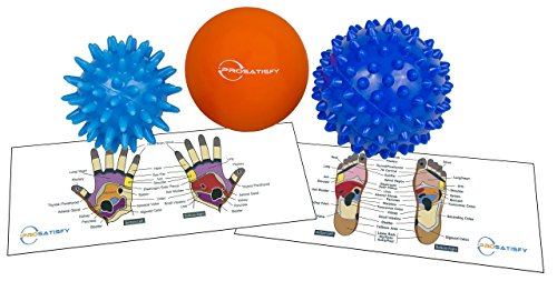 Foot Massage Balls (3 Pack) - For Deep Tissue Massage, Trigger Point, Feet, Back, Hand, Muscles, Acupressure & All Over Body to Roll Away Stress &Tension - Includes FREE Reflexology chart