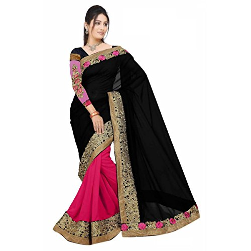 Triveni Indian Beautiful Pink Colored Border Worked Faux Georgette,Net Festival Saree - Net Sarees In India