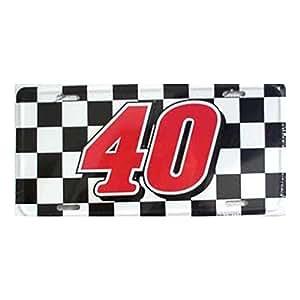 Smart Blonde #40 NASCAR Checkered Flag Racing Novelty Vanity Metal License Plate Tag Sign