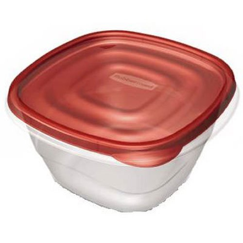 Deep Square Container (Rubbermaid TakeAlongs 5.2-Cup Deep Squares Food Storage Containers, 4-Pack, Chili Red)
