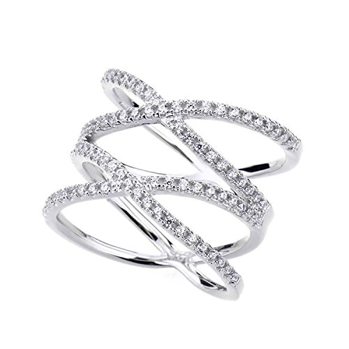 - SOMEN TUNGSTEN Double X Criss Cross Ring Sterling Silver Pave CZ Wedding Band