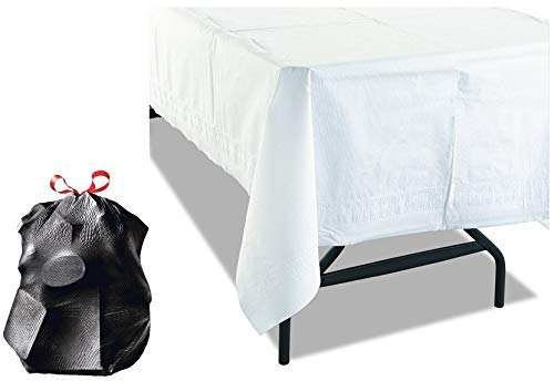 "11 White Disposable Tablecloths | Premium Classic 3-Ply Tissue and Poly Rectangle Party Table covers | 54"" x 108"" Tablecovers 