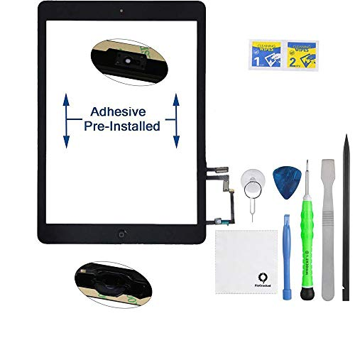 Fixcracked Touch Screen Replacement Parts Digitizer Glass Assembly for Ipad air 1st + Professional Tool Kit (Black) (Ipod Touch Gen 2 Front Panel Assembly)