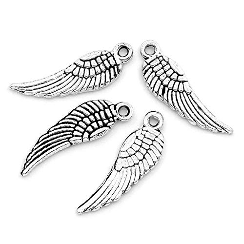 (PEPPERLONELY 50pc Antiqued Silver Alloy Angel Wing Charms Pendants 17x5mm (5/8