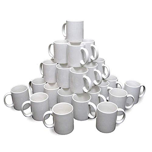 11 Ounce Stoneware - Sublimation Mugs White 11oz Coated Cups Heat Press Transfer Blank-36 Mugs