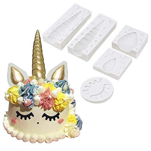 Unicorn Horn Silicone Cake Toppers Mold with Ears and Eyes Set Cake Decorating Moulds Sugarcraft Fondant Cake Decorating Tools (5 Pcs/set)
