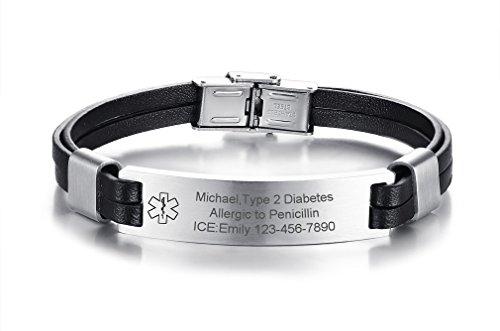 VNOX Mens Womens Custom Personlized Genuine Leather Stainless Steel Medical Alert ID Cuff Bangle Bracelet,Length Adjustable by VNOX