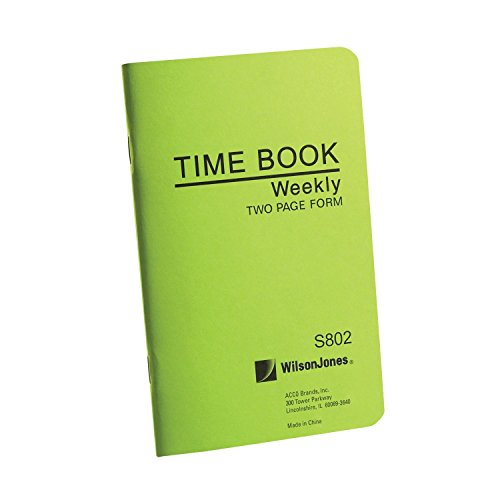 Wilson Jones Foreman's Pocket Size Employee Time Book, 4.13 x 6.75 Inches, 36 Pages, Green (WS802)