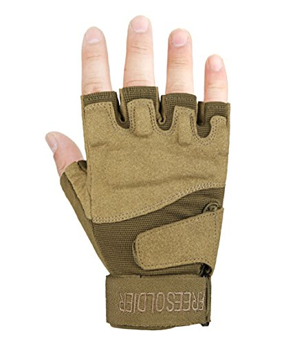 PANDA SUPERSTORE Fingerless Breathable Wear Resistant/Hunting/Climbing/Shooting Gloves Brown, M