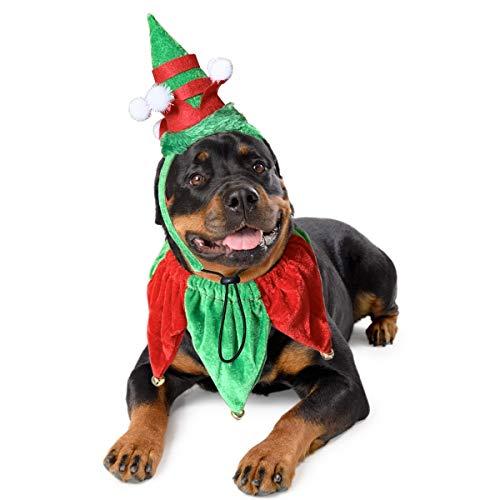 VEHOMY 개 크리스마스 의상프 헤어밴드 및 벨 칼라 크리스마스 애완 동물 의상을 위해 액세서리 중 큰 개 2PCS