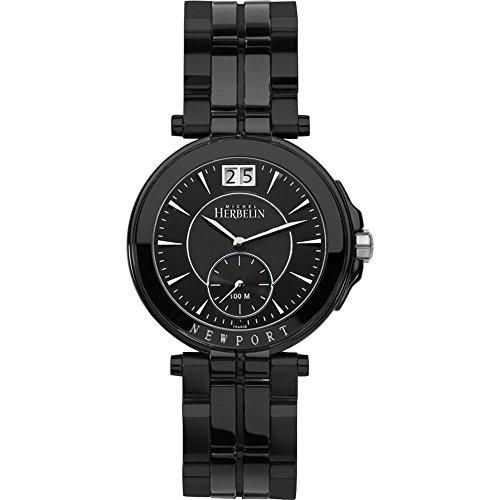 Michel Herbelin Women's Newport Yacht Club 33.5mm Black IP Steel Bracelet & Case Quartz Watch 18266/BN24