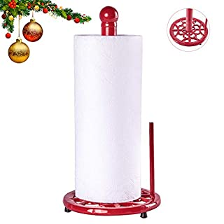 JOGREFUL Decorative Paper Towel Holder Stand, Vintage Cast Iron Roll Paper Towel Stand, Easy One-Handed Tear for Kitchen Countertop Bathroom Home Decor-Red