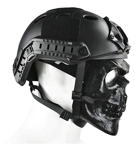 WLXW Mich/Fasthelmet, Masque Complet Skull avec Lunettes et Casque Tactique Rapide/Casque ACH Style Mich 2000 Combiné… 3