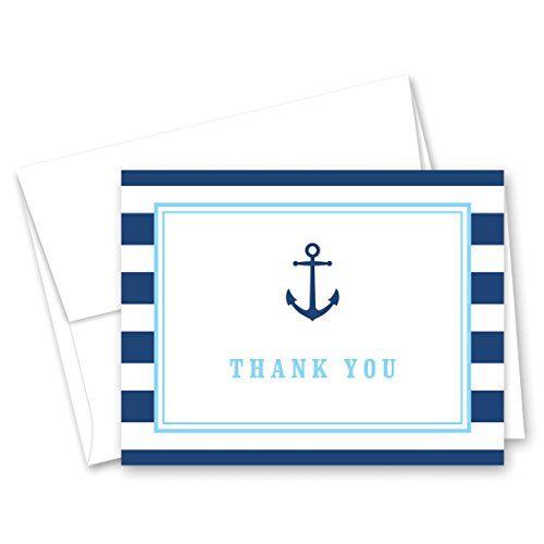 - 50 Cnt Navy Stripes Blue Border Nautical Boy Baby Shower Thank You Cards