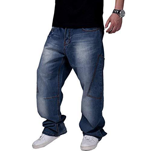 dde6796797 pit4tk Men's Loose Jeans Hip Hop Baggy Denim Pants(72 46(Waist 45